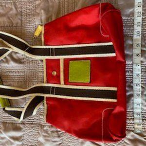 COACH red canvas block multi-color vintage purse